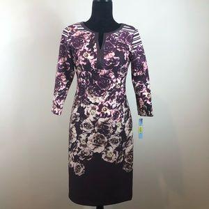 Antonio Melani Purple Plum Floral Fitted Dress 2 NWT